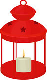 Lantern red color with candle made of wax, Christmas decoration