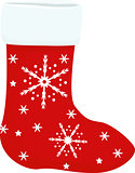 Christmas or New Year. Vector greeting card with red sock