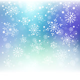 Christmas snowflakes on colorful background.