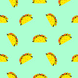 Taco mexican food seamless blue vector pattern.