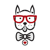 Cute gentleman dog hipster tshirt design vector.
