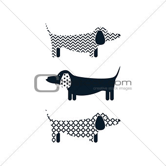 Dachshund dog tshirt cartoon design vector.
