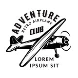 vector monochrome illustration with airplane for adventure