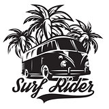 monochrome vector illustration on theme of surfing with three palm trees