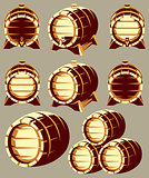 Set of vintage wooden barrels in different foreshortening on background. Vector illustration.