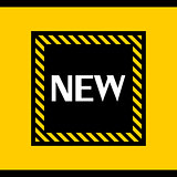 "Bright orange-yellow and black with the words ""new"" banner"