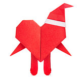 Red heart of origami with arms legs and santas cap