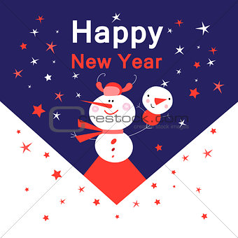 Bright New Year card with snowmen
