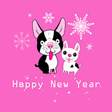 New Year card funny dogs