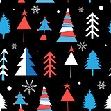 Seamless winter pattern from different Christmas trees