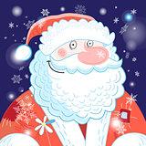 Bright postcard New years portrait of Santa Claus