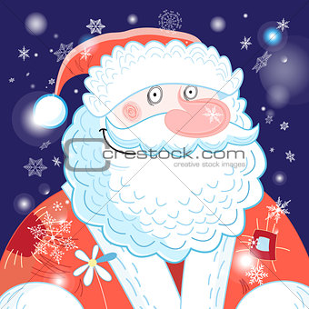 Bright postcard New years portrait of Santa Claus