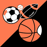 Vector bright poster different sport balls