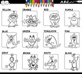basic colors set for coloring with monsters