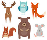 cute cartoon animal characters set
