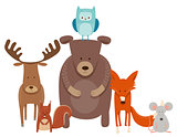 cute cartoon animal characters group