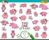 find one of a kind with pigs animal characters