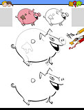 drawing and coloring activity with pig character
