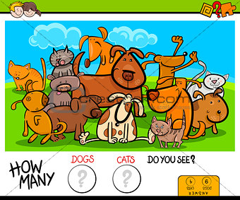 counting cats and dogs educational activity game