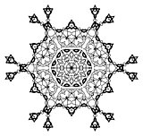 Snowflake Mandala. Vintage decorative elements.