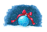 Sketch markers Christmas ball on blue background. Sketch done in