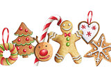 Sketch markers Christmas cookies on a white background. Sketch d
