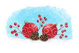 Sketch markers Christmas decoration with fir cones. Sketch done