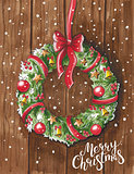 Sketch markers Christmas wreath on wooden door. Sketch done in a