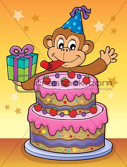 Cake and party monkey theme 2