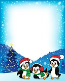 Christmas penguins thematic frame 1