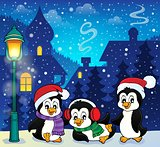 Christmas penguins thematic image 1