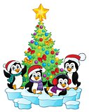 Christmas tree and penguins image 1