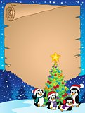 Christmas tree and penguins parchment 1