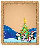 Christmas tree and penguins parchment 2
