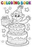 Coloring book cake and party monkey