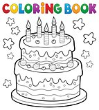 Coloring book cake with 5 candles