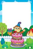 Frame with cake and party monkey theme 1