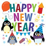 Happy New Year theme with penguins
