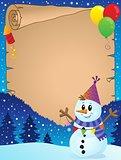 Parchment with party snowman theme 1