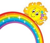 Sun holding rainbow theme 3