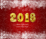 2018 New Year Background with Golden Balloon. Vector Illustration