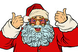 isolated Santa Claus in the star glasses