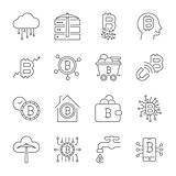 Bitcoin icons set. Digital currency. Cryptocurrency. Editable Stroke