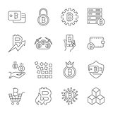 Vector Line Cryptocurrency Icons. Thin Outline Bitcoin Symbols. Editable Stroke