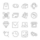 E-commerce outline web icons set. Editable Stroke