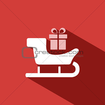 Sled icon with gift and shade on red background