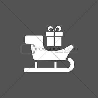 Sled icon with gift on black background