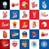 vector logo box with gifts