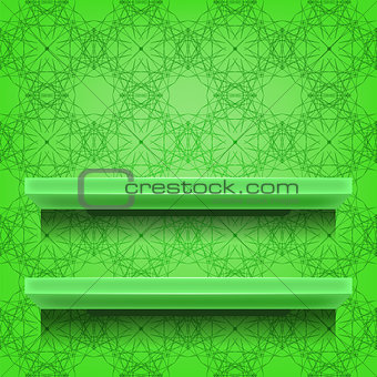 Green Shelves  on Ornamental  Background