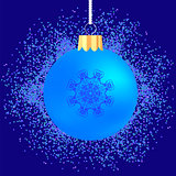 Glass Ball on Blue Confetti Background
